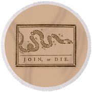 Join Or Die Round Beach Towel by War Is Hell Store