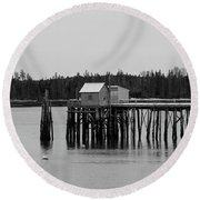 Round Beach Towel featuring the photograph Jonesport, Maine by Trace Kittrell