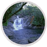 Round Beach Towel featuring the photograph Josephine Falls And Tropical Pool by Kerryn Madsen- Pietsch