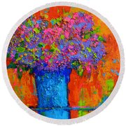 Joyful Perfection - Modern Impressionist Art - Palette Knife Work Round Beach Towel