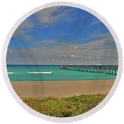 Round Beach Towel featuring the photograph 1- Juno Beach Pier by Joseph Keane
