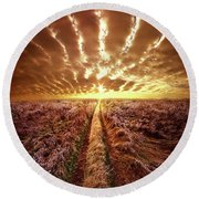 Round Beach Towel featuring the photograph Just Over The Horizon by Phil Koch