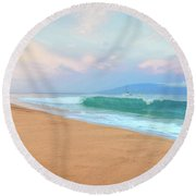 Round Beach Towel featuring the photograph Ka'anapali Waves by Kelly Wade
