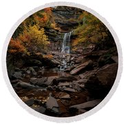 Kaaterskill Falls  Round Beach Towel by Anthony Fields