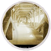 Kapell Bridge, Lucerne, Switzerland, 1903, Vintage, Photograph Round Beach Towel