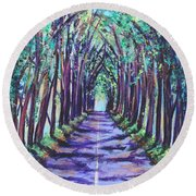 Round Beach Towel featuring the painting Kauai Tree Tunnel by Marionette Taboniar