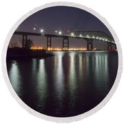 Key Bridge At Night Round Beach Towel by Brian Wallace