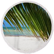 Round Beach Towel featuring the photograph Key West Palm by Kelly Wade