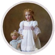 Round Beach Towel featuring the photograph Kindhearted Kish Dolls by Nancy Lee Moran