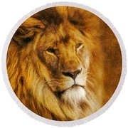 Round Beach Towel featuring the digital art King Of The Beasts by Ian Mitchell