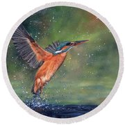 Round Beach Towel featuring the painting Kingfisher by David Stribbling