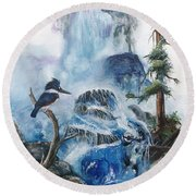 Round Beach Towel featuring the painting Kingfisher's Realm by Sherry Shipley