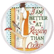 Kissing Cooking Round Beach Towel