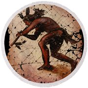 Kokopelli The Flute Player  Round Beach Towel