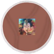 La Fille Foret Round Beach Towel by Art Ina Pavelescu