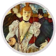 La Goulue Arriving At The Moulin Rouge With Two Women Round Beach Towel
