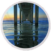 La Jolla Blue  Round Beach Towel