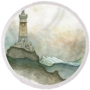 La Vieille Lighthouse Round Beach Towel