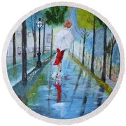 Lady In Red Original Version Round Beach Towel by Dick Bourgault