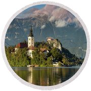 Round Beach Towel featuring the photograph Lake Bled by Brian Jannsen