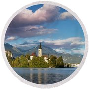 Round Beach Towel featuring the photograph Lake Bled Panoramic by Brian Jannsen