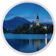 Round Beach Towel featuring the photograph Lake Bled Twilight by Brian Jannsen