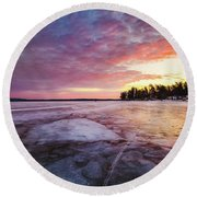 Lake Ice Round Beach Towel