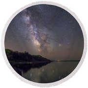 Round Beach Towel featuring the photograph Lake Oahe  by Aaron J Groen