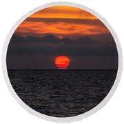 Lake St. Clair Sunrise Round Beach Towel