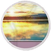 Round Beach Towel featuring the photograph Lake Sunset, Pocono Mountains, Pennsylvania by A Gurmankin