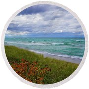Lake Superior Colors Round Beach Towel by Rachel Cohen