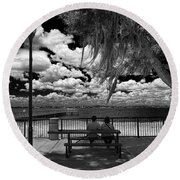 Round Beach Towel featuring the photograph Lake View by Lewis Mann