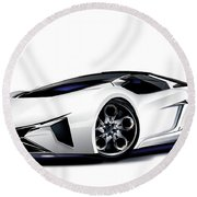 Round Beach Towel featuring the drawing Lamborghini by Brian Gibbs