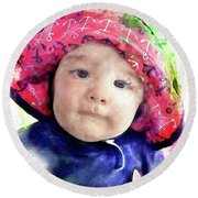 Round Beach Towel featuring the painting Landon by Robert Smith