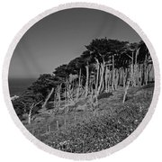 Lands End In San Francisco Round Beach Towel