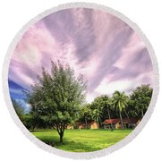 Round Beach Towel featuring the photograph Landscape  by Charuhas Images