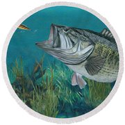 Largemouth Bass Round Beach Towel
