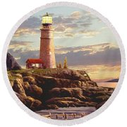 Last Light 2 Round Beach Towel