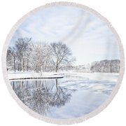 Last Winter's Dream Round Beach Towel