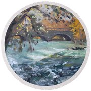 Late Afternoon By Niagara River Round Beach Towel