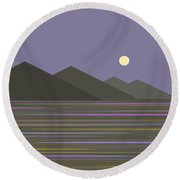 Round Beach Towel featuring the digital art Lavender Sky  Reflections by Val Arie