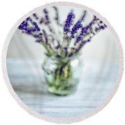 Lavender Still Life Round Beach Towel