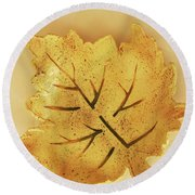 Leaf Plate2 Round Beach Towel by Itzhak Richter