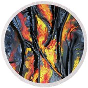 Round Beach Towel featuring the mixed media Leather And Flames by Angela Stout