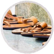 Leather Sandals Round Beach Towel