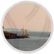 Leaving Camden Harbor Round Beach Towel