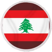 Lebanon Flag Round Beach Towel