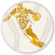 Lebron James Cleveland Cavaliers Pixel Art 10 Round Beach Towel