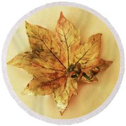 Leaf Plate1 Round Beach Towel by Itzhak Richter