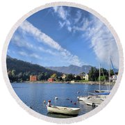 Lenno.lake Como Round Beach Towel by Jennie Breeze